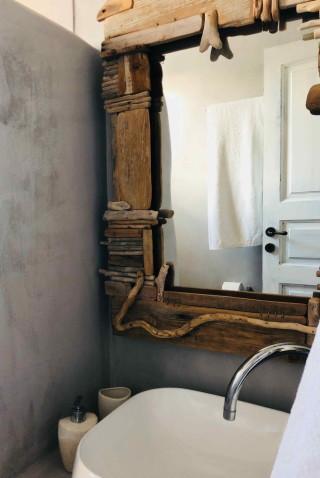 family room sarakiniko view studios bathroom amenities